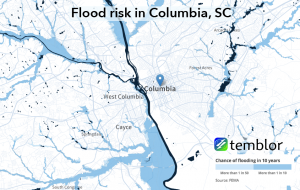 Flood risk for the Columbia, South Carolina region.