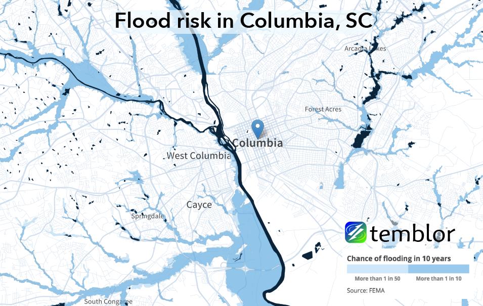 Flood risk for the Columbia, South Carolina region.