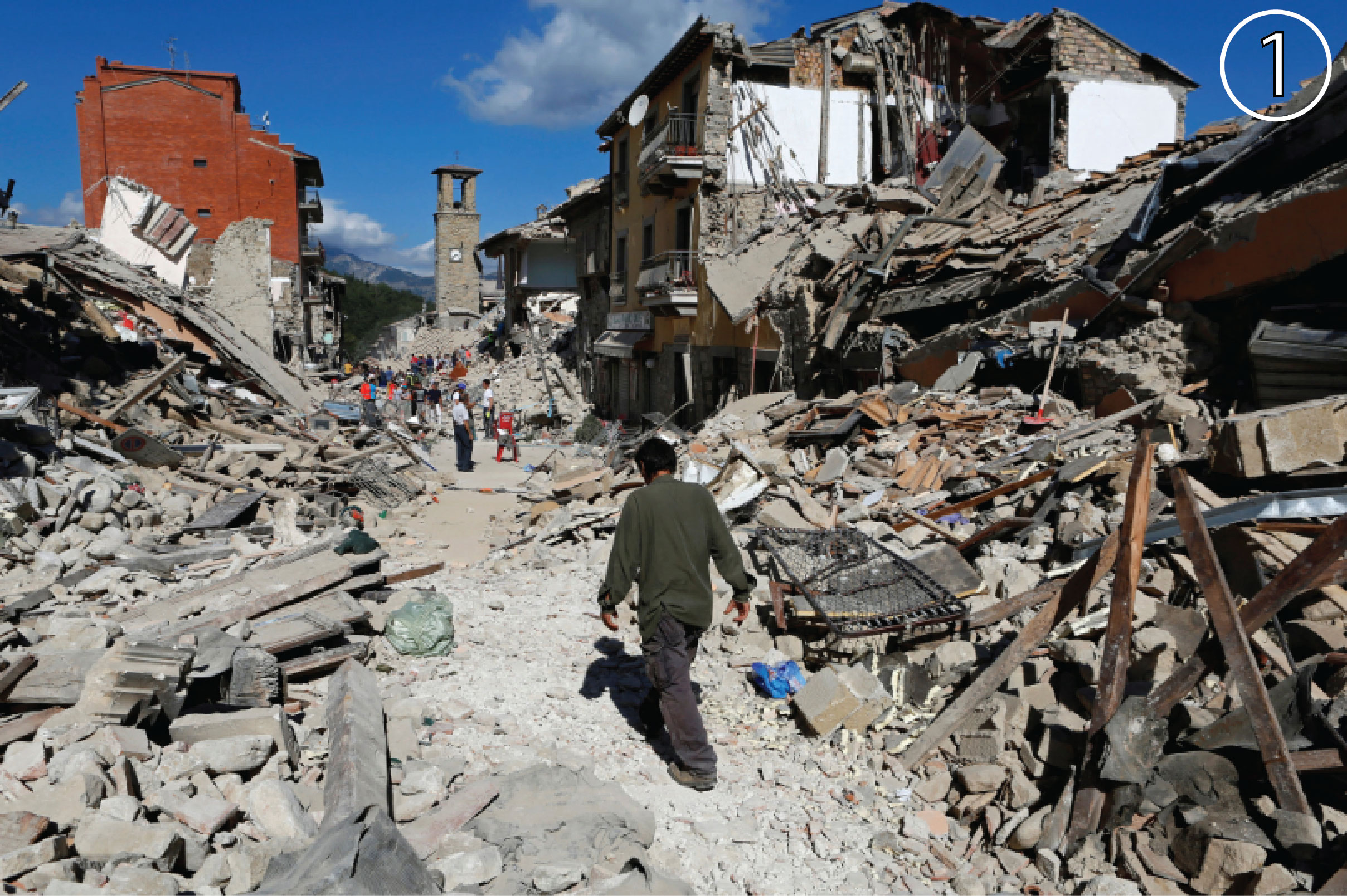 Damage from of the Italy earthquake in Amatrice.