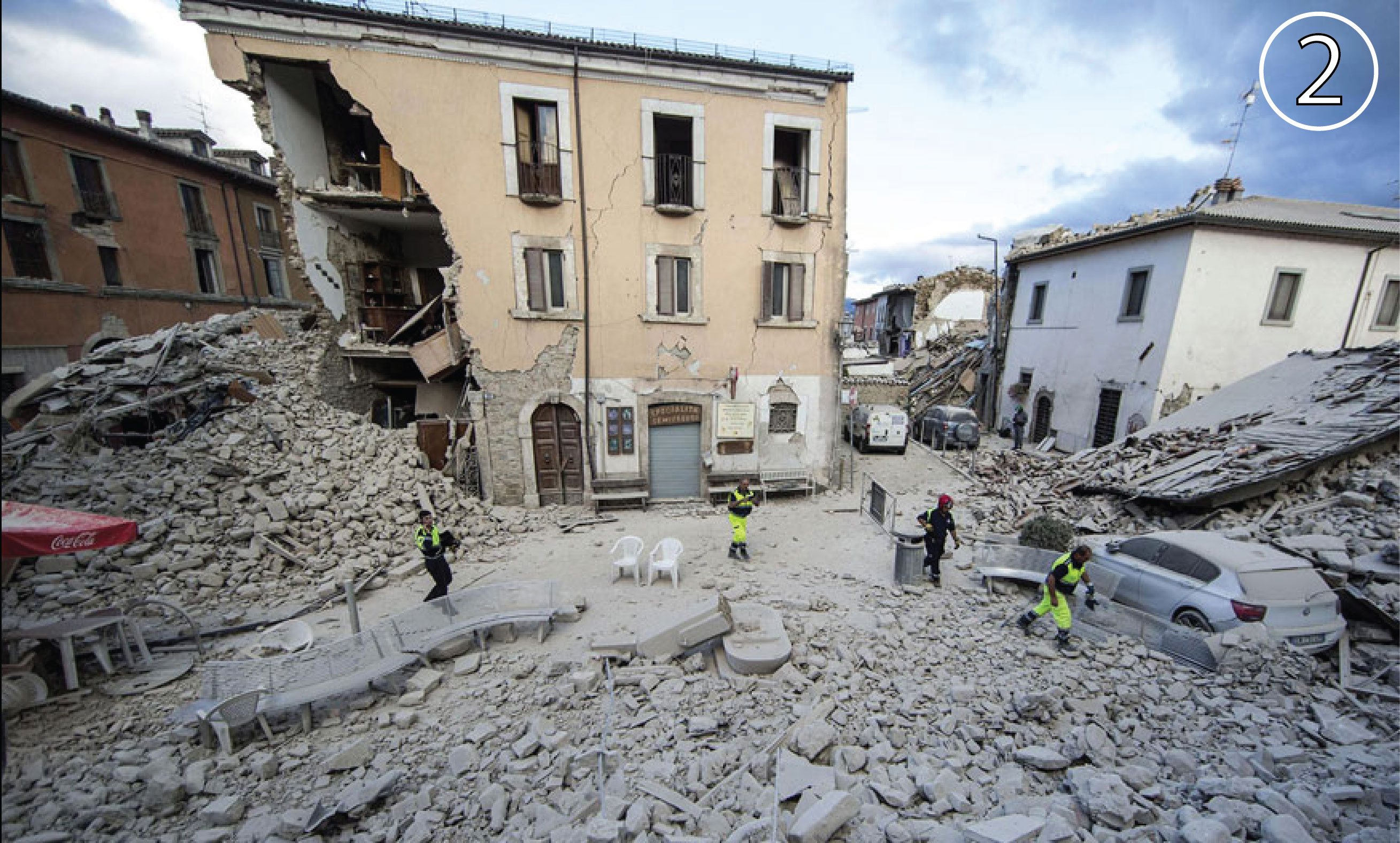 Damage from the Italy earthquake in Amatrice.