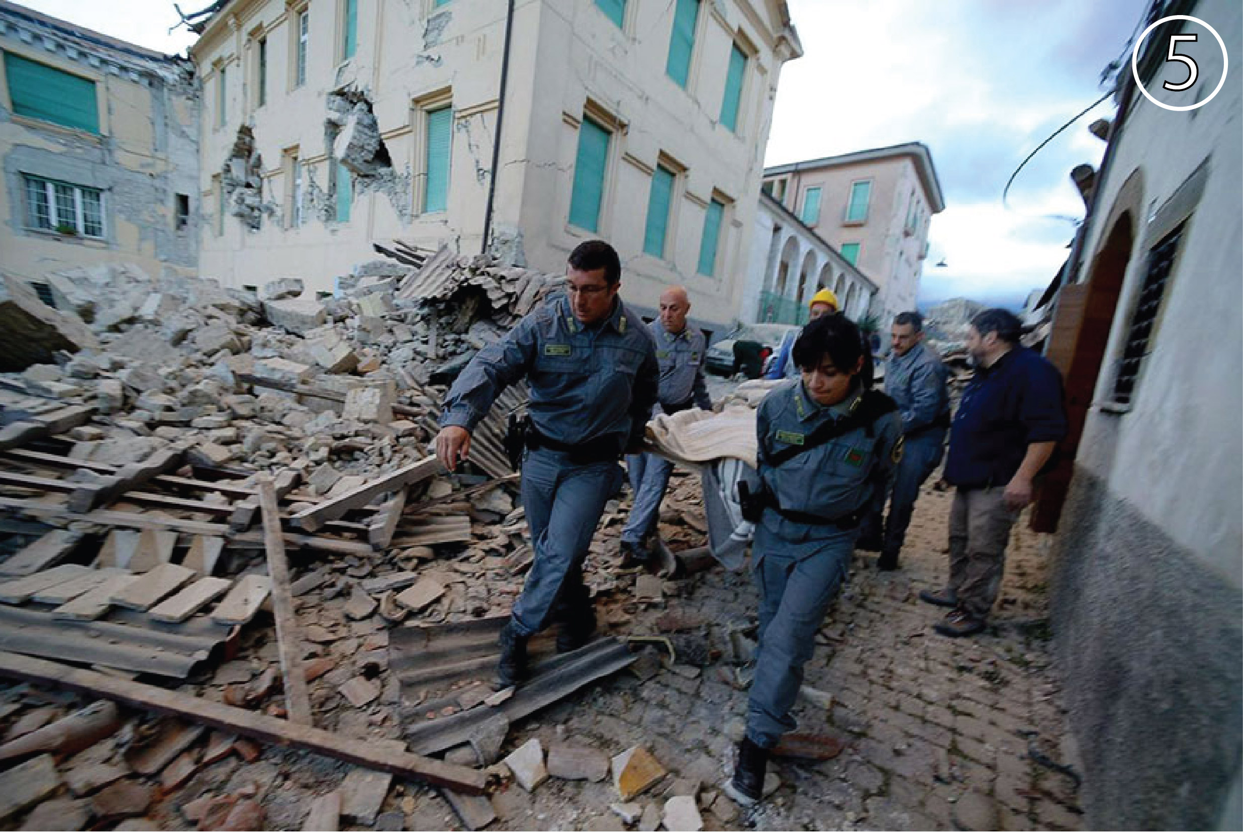 Damage from the Italy earthquake at Amatrice.