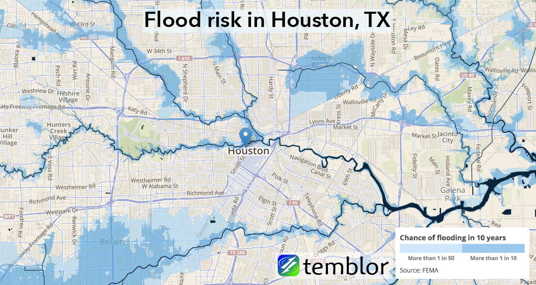 Flood risk in Houston, TX.