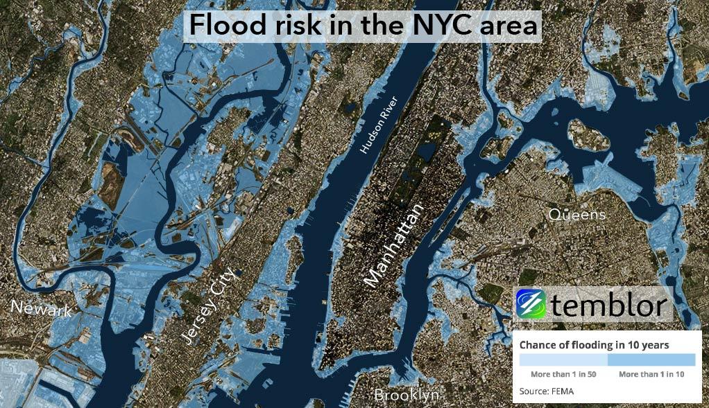 Flood risk in the New York City metropolitan area.