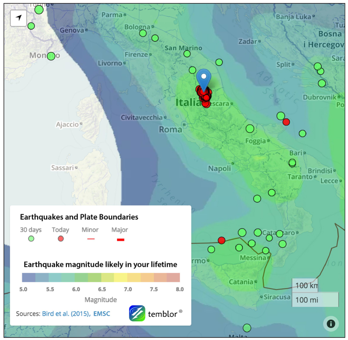 Temblor map of the aftershocks, with the GEAR model of Bird et al (2015).