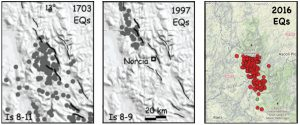 Here is a comparison of the sites of highest intensity shaking in the 1703 M~6.7 and 1997 M=6.1 Umbria-Marche earthquakes (the two panels on the right) with the aftershocks of the 23 August 2016 M=6.2 shock. The rupture zones of the 1703 and 1997 shocks abut or overlap, but there appears to be a gap of about 20 km between the 1997 and 2016 ruptures. The left two panels are from Galli, Galadini and Calzoni (2005); the right panel is a Temblor map, which uses the EMSC aftershocks.