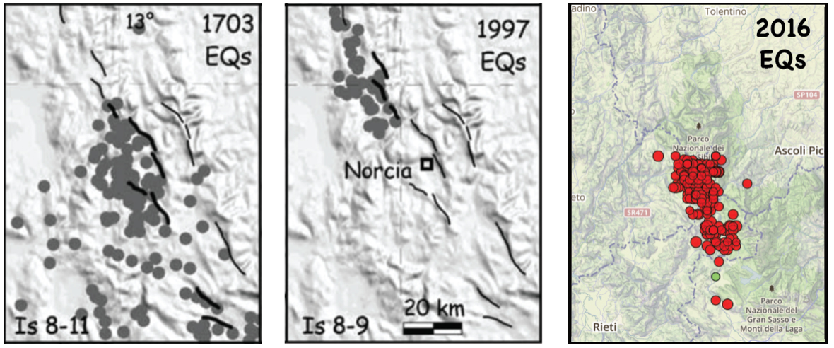 Here is a comparison of the sites of highest intensity shaking in the 1703 M~6.7 and 1997 M=6.1 Umbria-Marche earthquakes (the two panels on the left) with the aftershocks of the 24 August 2016 M=6.2 shock on the right. The high intensity zones of the 1703 and 1997 shocks abut or overlap, but there appears to be a gap of about 20 km (12 mi) between the 1997 and 2016 ruptures. The left two panels are from Galli, Galadini and Calzoni (2005); the right panel is a Temblor map, which uses the EMSC aftershocks.