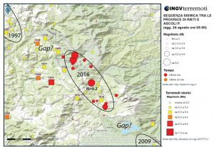 The 23 August 2016 M=6.2 earthquake struck between the sites of the 1997 M=6.1 Umbria-Marche shock to the northwest, and the 2009 M=6.3 L'Aquila shock to the southeast. This leaves potential gaps, at least since 1859, between the recent quakes, where another M~6 shock could conceivably strike. (Annotated from an INGV map).