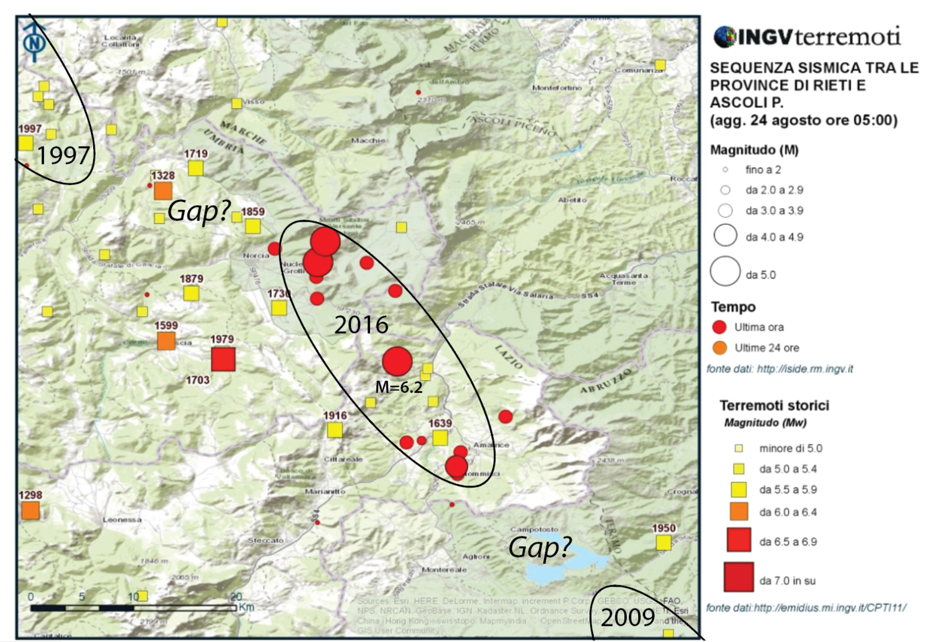 The 24 August 2016 M=6.2 earthquake struck between the sites of the 1997 M=6.1 Umbria-Marche shock to the northwest, and the 2009 M=6.3 L'Aquila shock to the southeast. This leaves potential gaps, at least since 1859, between the recent quakes, where another M~6 shock could conceivably strike. (Annotated from an INGV map).
