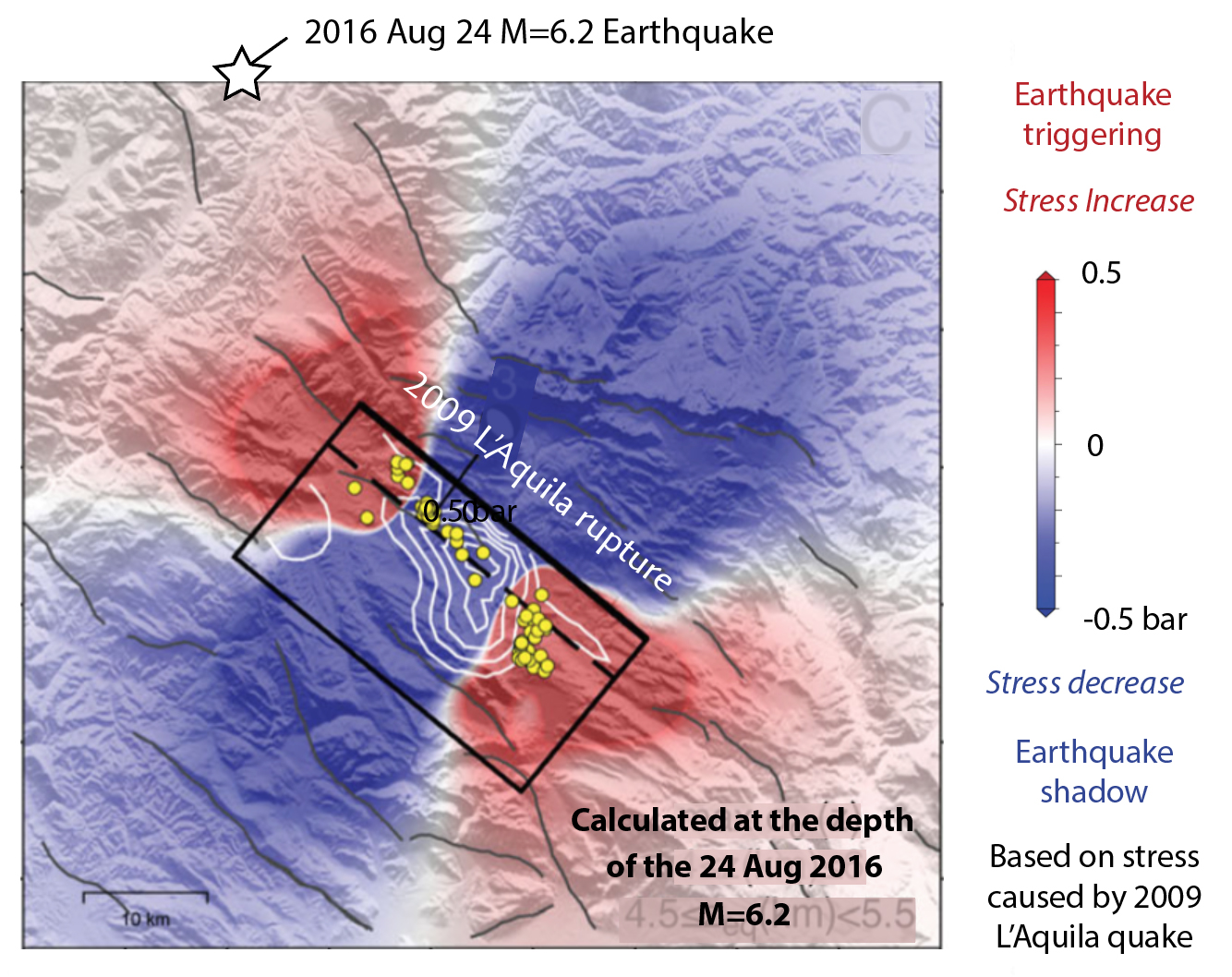The M=6.2 epicenter is located in the earthquake triggering zone of the 6 April 2009 L'Aquila rupture (black rectangle). We modified this figure from Serpelloni, Anderlini and Belardinelli (2012).
