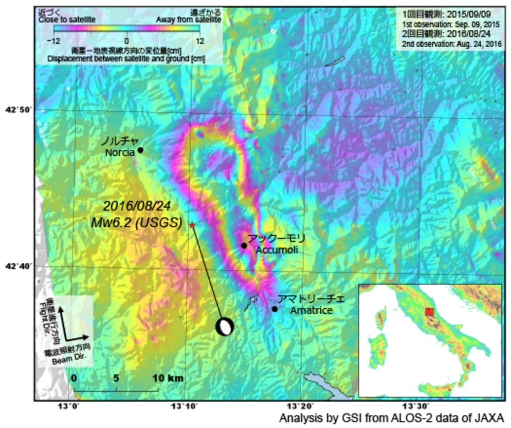 JAXA interferogram of M=6.2 Italy earthquake