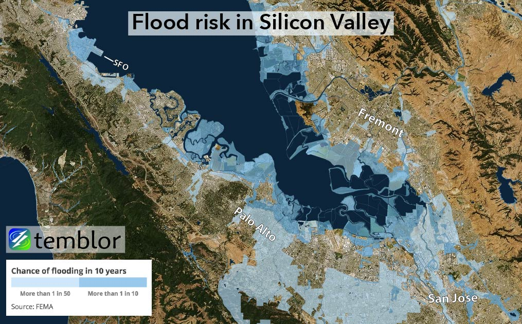 Flood risk data for Silicon Valley, CA.