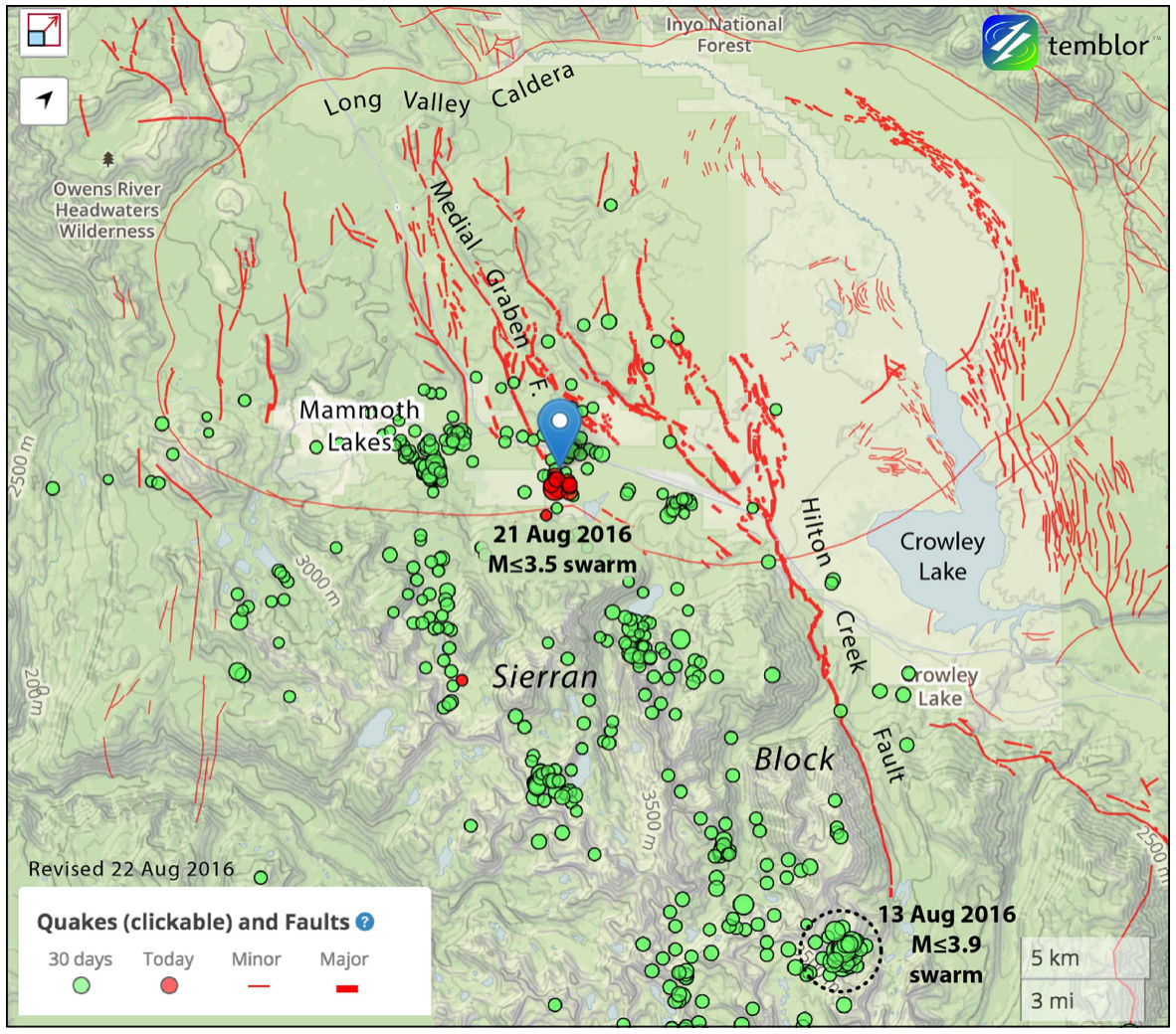 Temblor map of the two swarms, the caldera, and the principal fault systems.