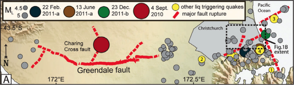 Illustration of major faults and earthquakes in the Canterbury, NZ, region.