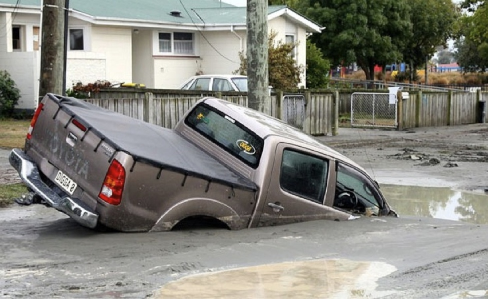 Sinkholes and subsidence caused by liquefaction caused widespread damage in Christchurch.