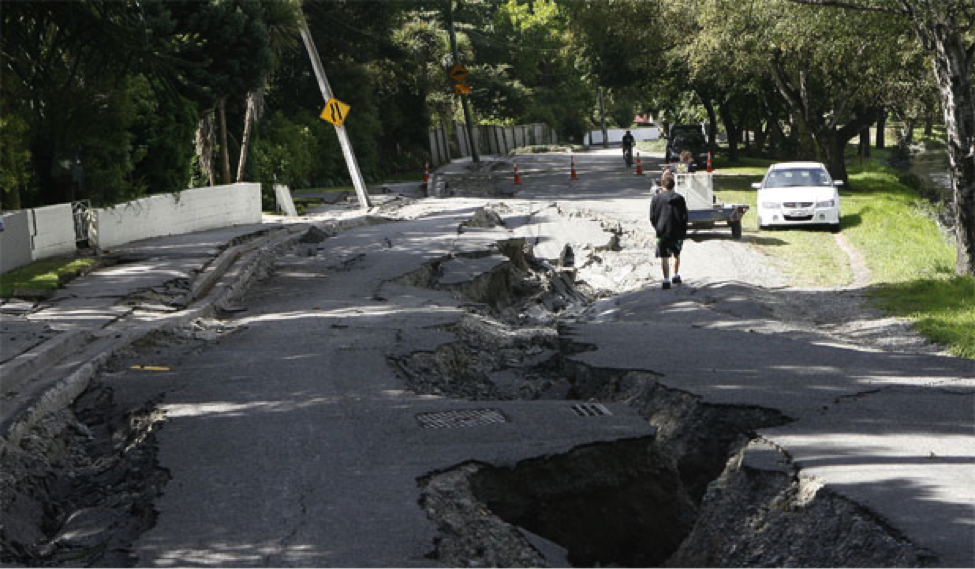 Lateral spreading caused widespread damage throughout Christchurch during the February 2011 earthquake.