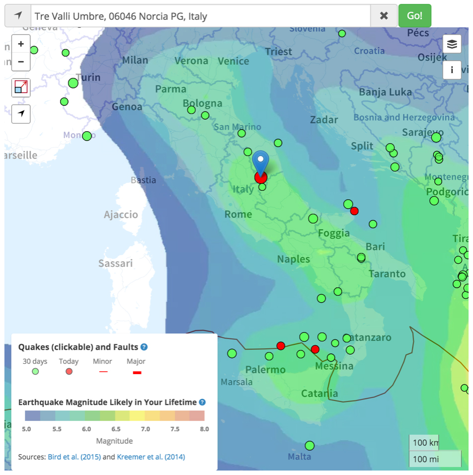 Temblor map of central Italy with today's red quake pinned. The earthquakes shown are from the EMS catalog. The colors come from the Global Earthquake Activity Rate (GEAR) model of Bird et al. (2015), which is now displayed in the Temblor web app (app.temblor.net)