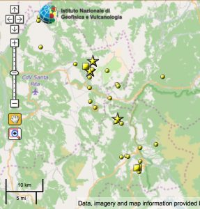"The aftershock zone is about 20 km long and the focal mechanism is for a tensional (""normal"") rupture on a fault striking northwest consistent with the Apennine ranges."