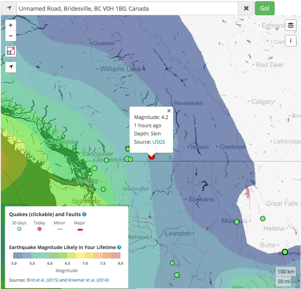 Temblor web app map of today's earthquake, together with the GEAR earthquake forecast