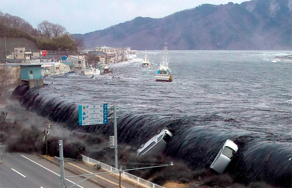 The devastating 2001 Tohoku earthquake and ensuing tsunami caused billions of dollars of damage and the deaths of thousands. A new Japanese study suggests that tidal stresses could influence large magnitude subduction zone earthquakes. Photo from: SFDEM