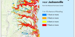 Map of predicted storm surge for Jacksonville, Florida.
