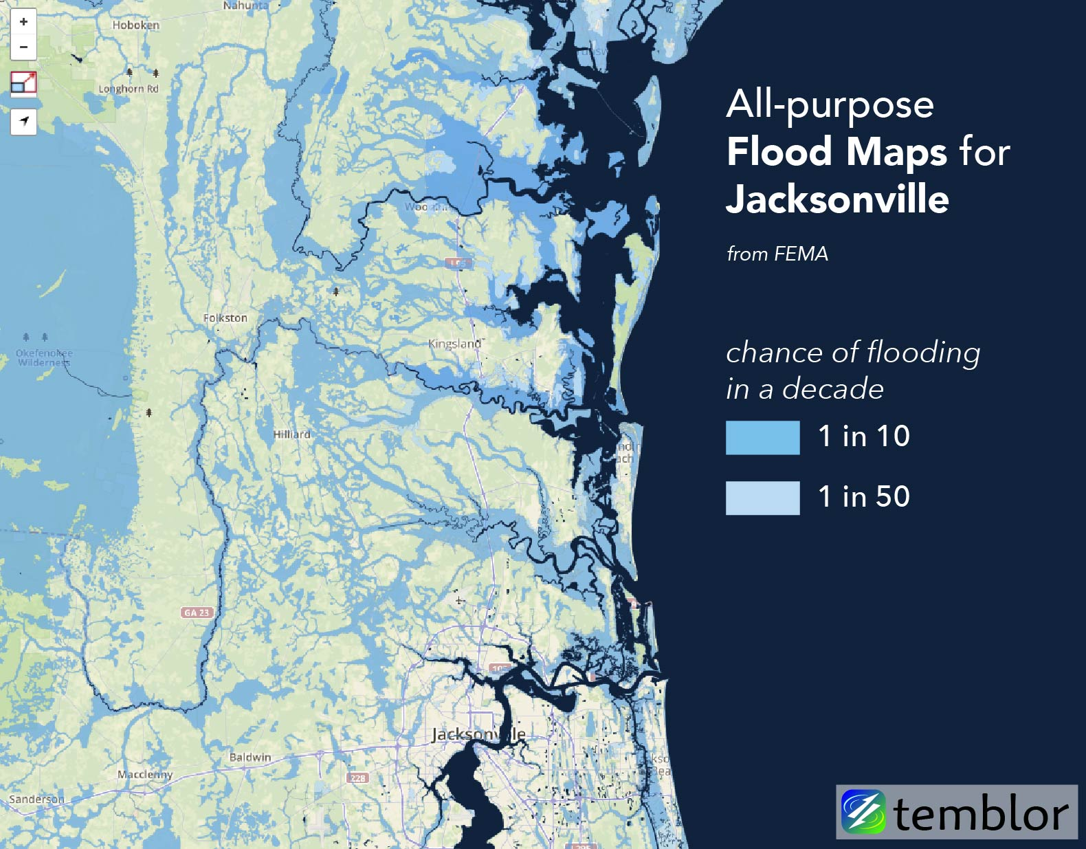 General FEMA flood map for Jacksonville, Florida.