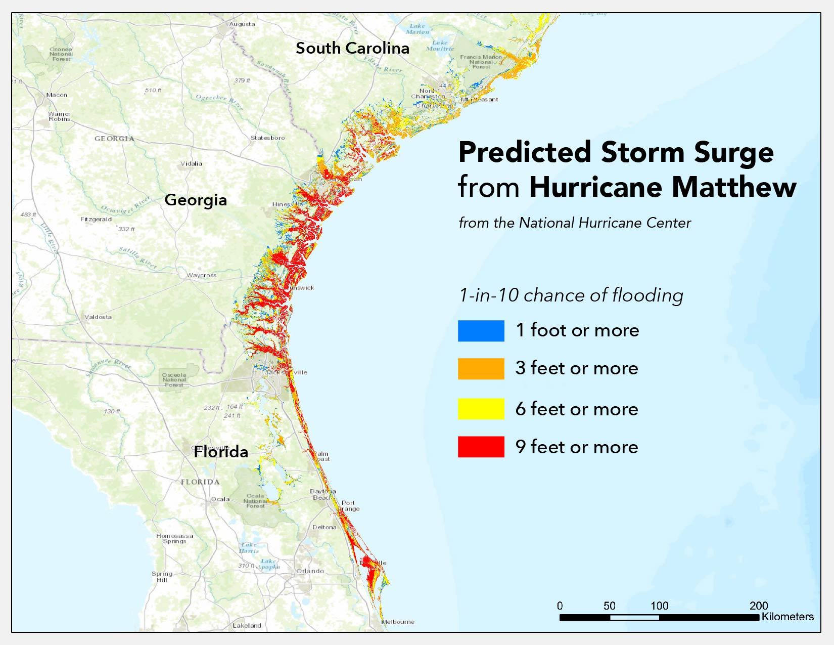 Predicted storm surge map from Hurricane Matthew.