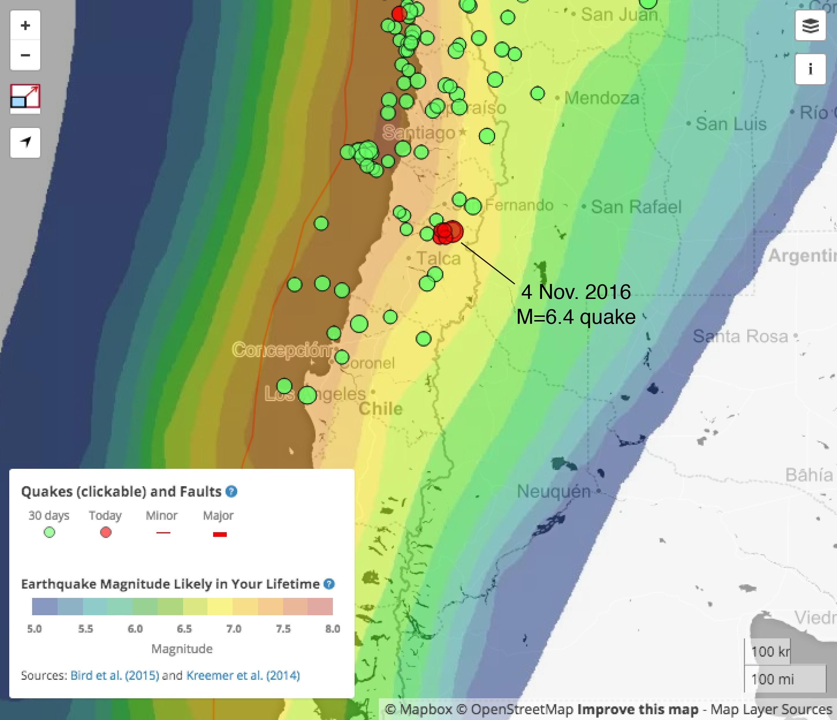 Santiago-Chile-earthquake-map. – Temblor.net on
