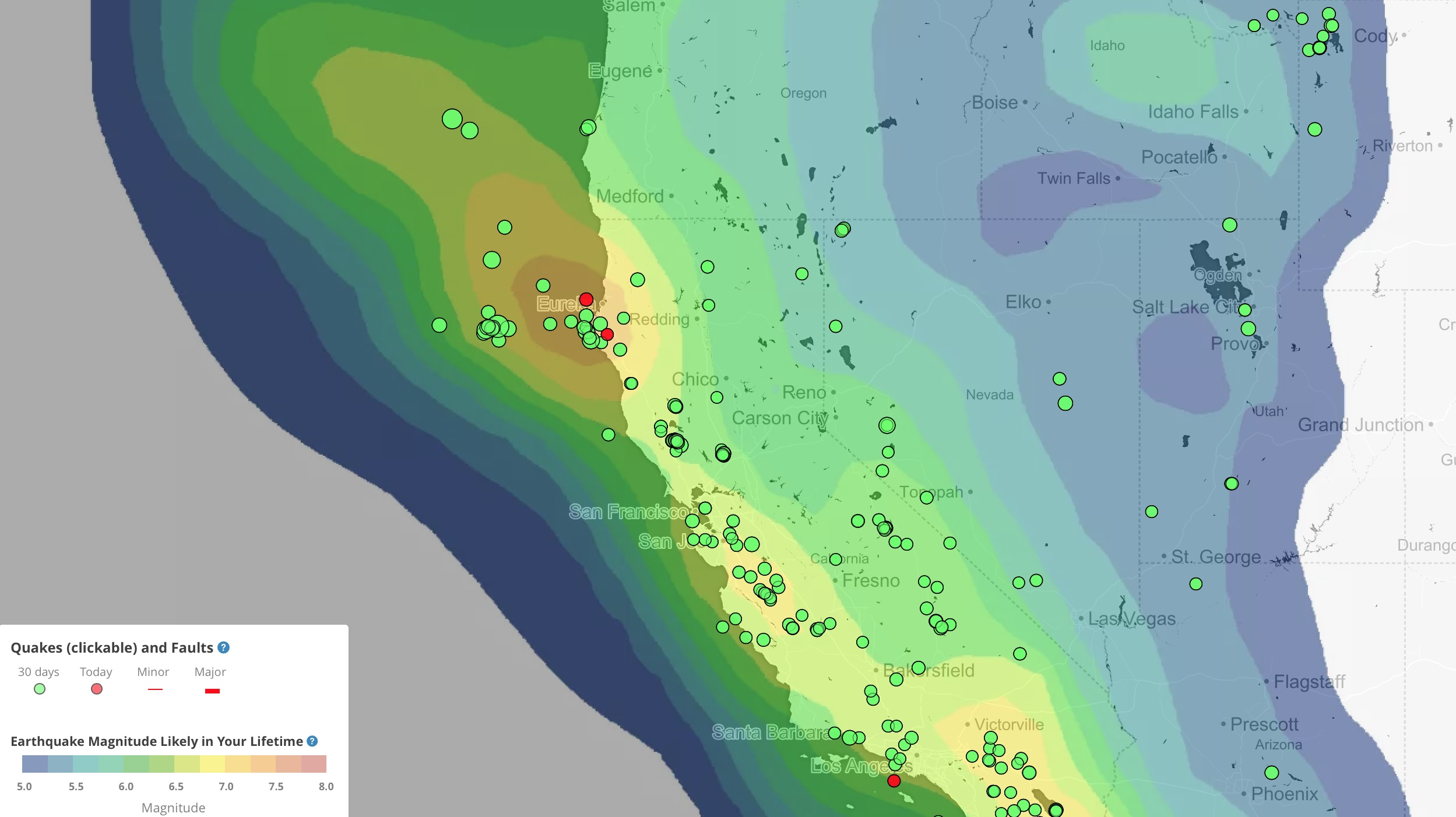 Temblor earthquake forecast map of northern California and surrounding regions. Note the high likelihood of large earthquakes at Cape Mendocino, the point at which the San Andreas makes a westward turn into the Pacific and becomes the Mendocino Fault Zone.