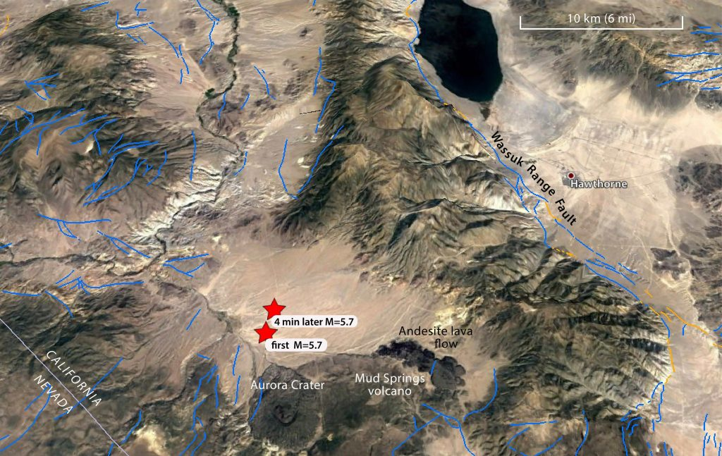 Earthquakes Strike Near Hawthorne, Nevada