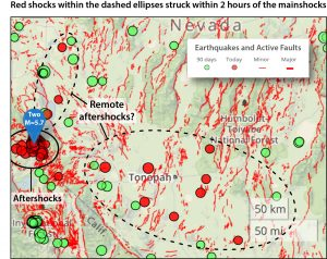 Annotated Temblor iPhone app screen shot of earthquakes in southern Nevada associated with the two M=5.7 mainshocks. The red shocks within the dashed ellipses appear to be dynamically triggered aftershocks.