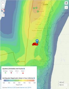 Temblor screen with 'Earthquake Forecast' layer clicked, showing that earthquakes of M=7.7 are rare at this location; they occur at a rate of about 0.2% per year. In contrast, 500 km to the north, near Los Angeles, Chile, today's quake would be much more common.