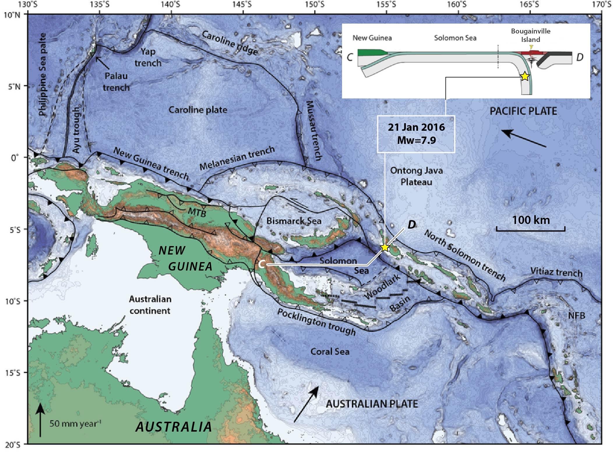 Papuanewguineafaultmapearthquakemap Temblornet - Papua new guinea map
