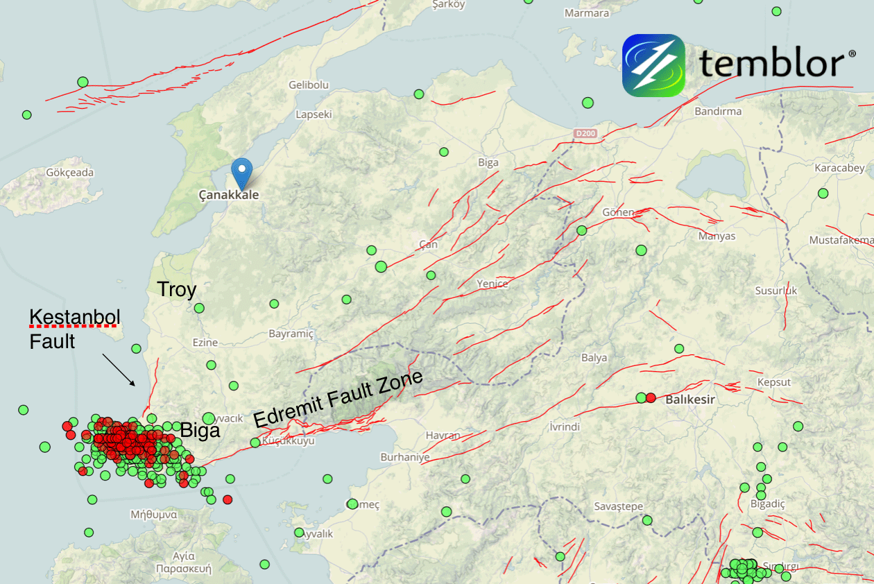 Temblor Map showing active faults in Turkey (MTA Faults)