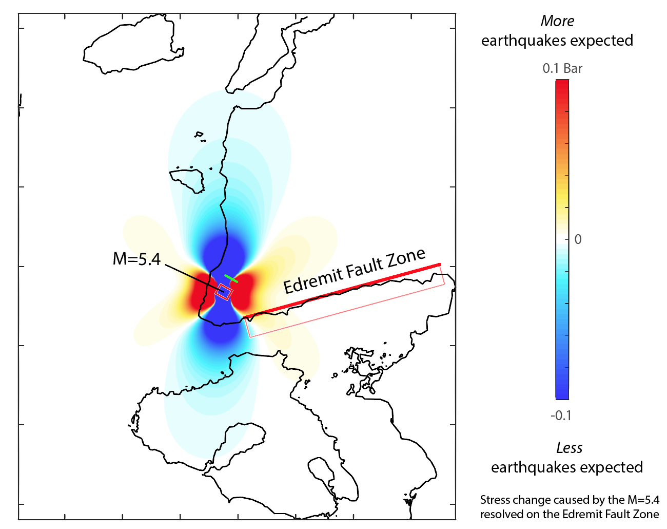 Coulomb Map showing stress increase on the Edremit Fault Zone. The map was created in Coulomb 3. Edremit fault: Dip: 60, Rake:-90, Depth: 7.00 km, Friction: 0.4