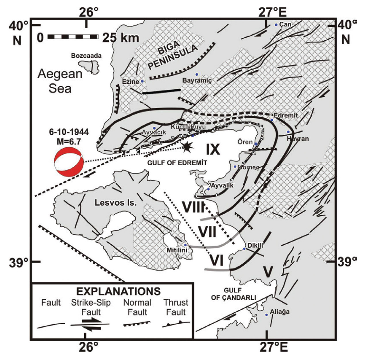 1944 Edremit Earthquake caused substandard structures collapse and  substantial damage to well-constructed structures along the coastline of the Gulfof Edremit effecting Ayvali, Gomen, Oren. Visible damage occurred intensity higher than VI.
