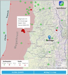 Temblor map of the Chile Trench and the megathrust surface adapted from SLAB 1.0 (Hayes et al., 2012), along with earthquakes during the past month (green) and 24 hours (red).