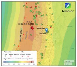 El enjambre sísmico ocurre en el sitio a lo largo de la Fosa de Chile con la magnitud de terremoto más grande esperada en un tiempo de duración típico: M=8.0. Esta es una magnitud de temblor que tuvo una probabilidad de 1% de ocurrir una vez al año, mientras que en Santiago (pin de color azul), que es de una M=7.0, la cual es aproximadamente 30 veces más pequeña.