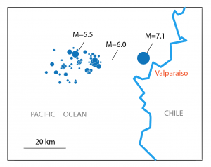 This map shows the location of today's M=7.1 earthquake, in relation to the seismic swarm, which began on Saturday (22 April) and was highlighted by a M=6.0 and M=5.5.