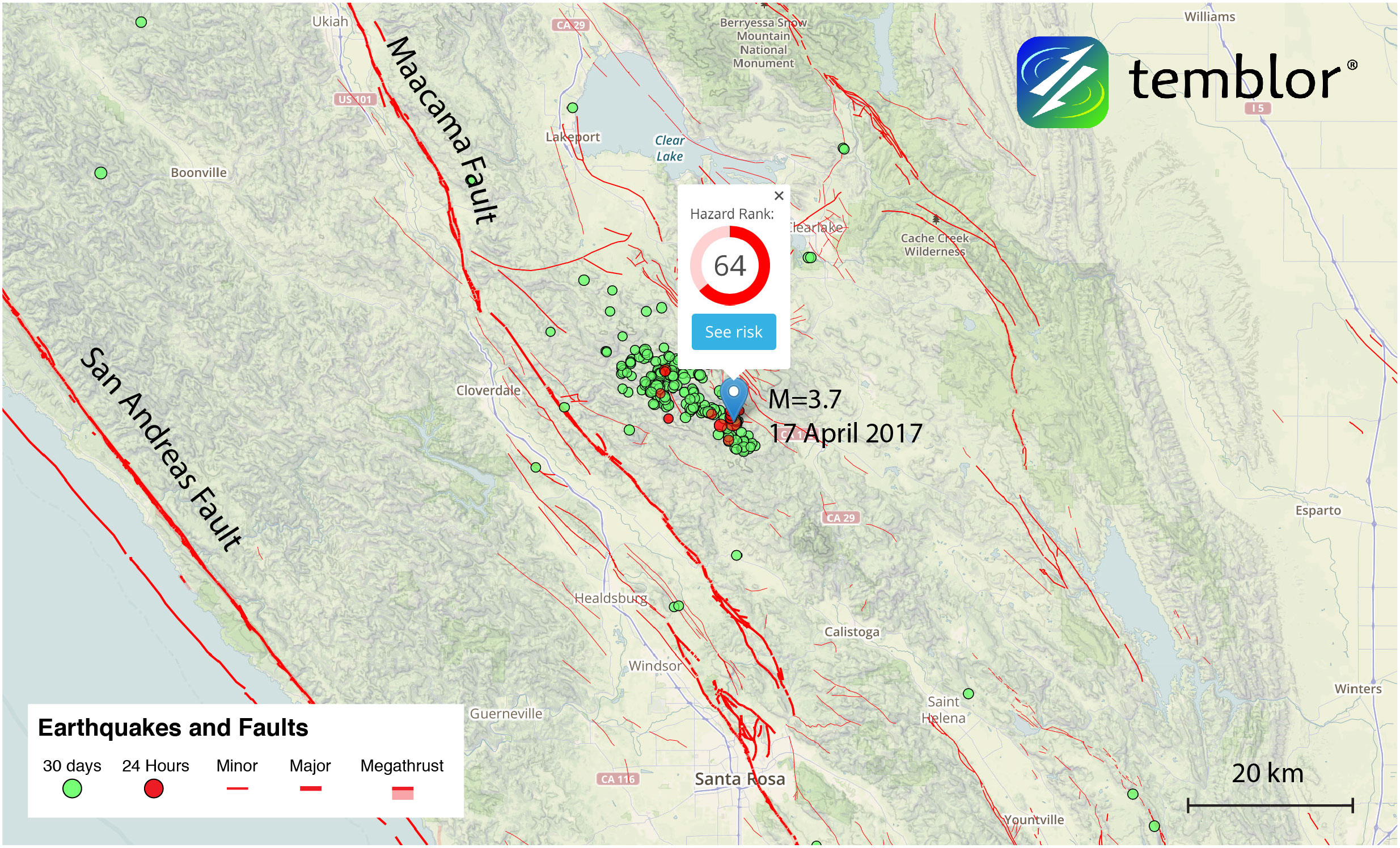 This Temblor map shows the location of yesterday's M=3.7 earthquake near Geysers, CA. While there are large faults in the area, the majority of earthquakes near Geysers are induced, and occur on small fractures beneath the geothermal field.