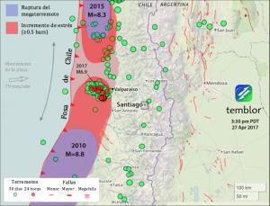 Este mapa de Temblor presenta la ubicación del enjambre sísmico reciente (Con la M=6.9 resaltada). Además, las zonas de ruptura de los terremotos de 2010 y 2015 se muestran de color morado. Estos sismos, más la sismicidad reciente, han ocasionado un estrés muy importante en el área, capaz de generar un terremoto de M=8.3-8.4.