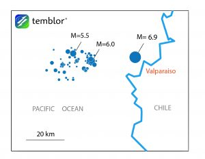 This map shows the location of today's M=6.9 earthquake, in relation to the seismic swarm, which began on Saturday (22 April) and was highlighted by a M=6.0 and M=5.5.