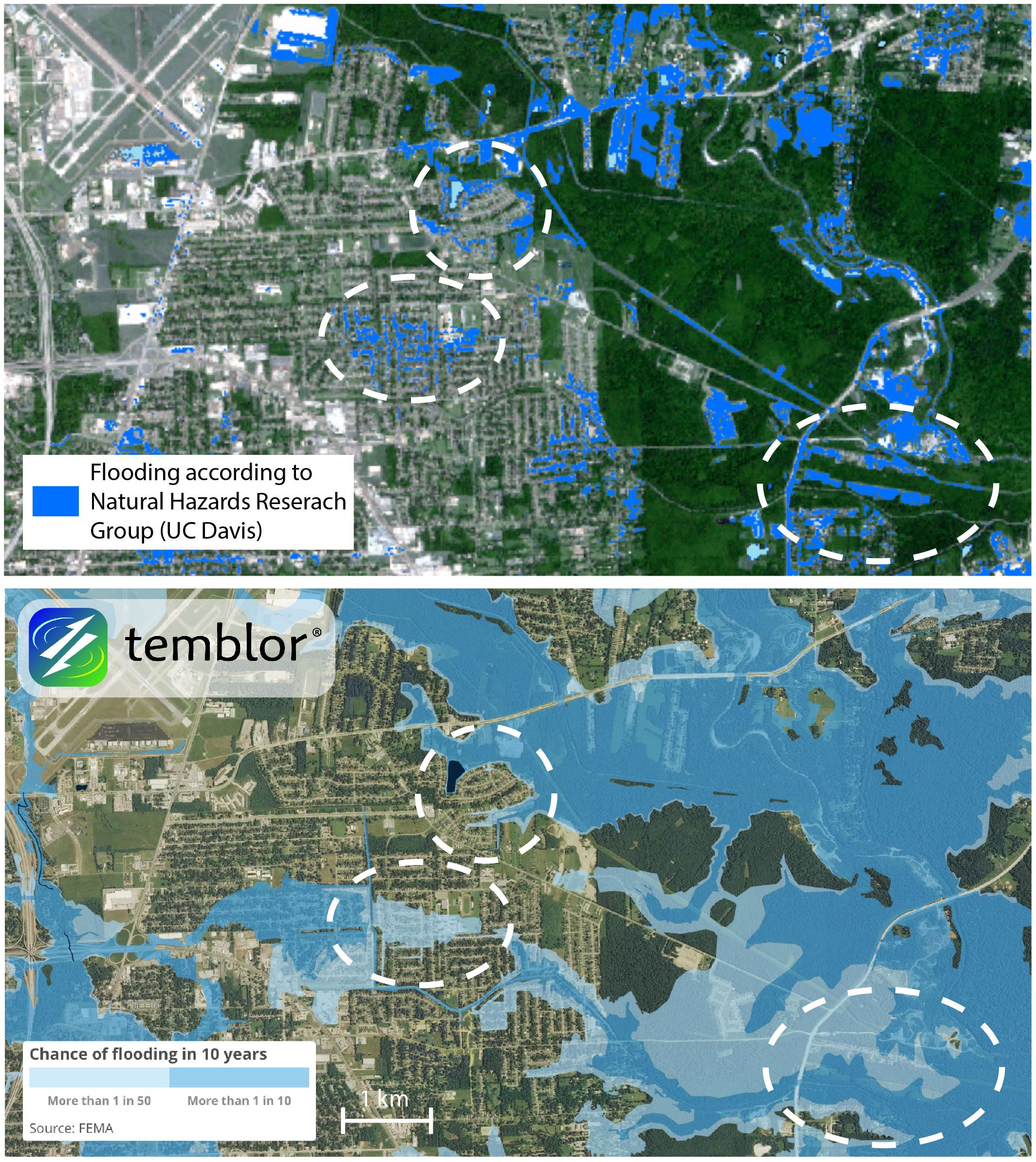 These comparison maps also show where flooding occurred (top), and where FEMA forecasts there is a 1% chance per year of flooding (bottom).