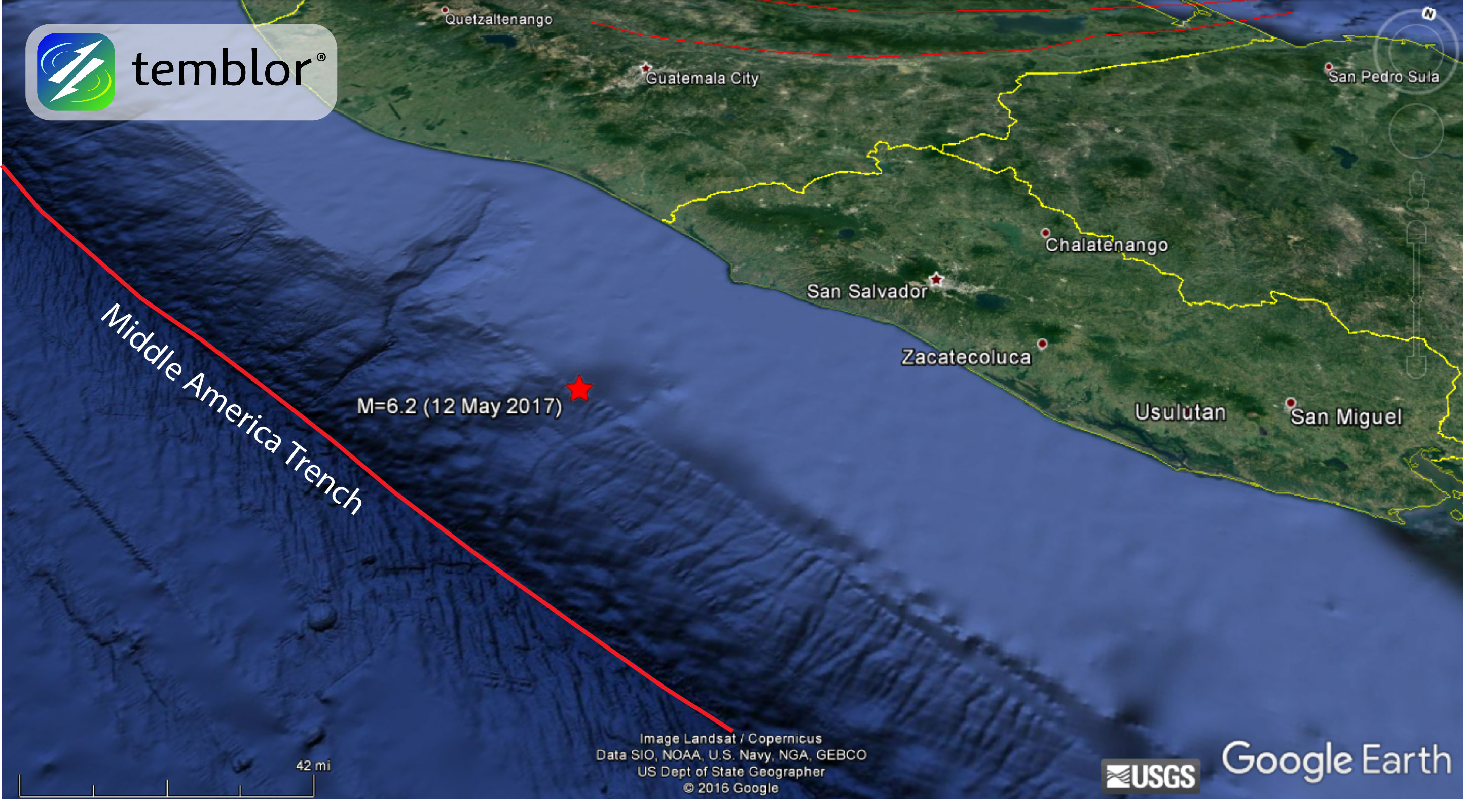 M Subduction Zone Earthquake Strikes El Salvador Temblornet - El salvador earth map