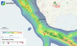 Pie de imagen: Este mapa de temblor presenta el modelo de Calificación Global de Actividad de Terremotos (GEAR) para el Golfo de California, así como también partes de la Costa Oeste de México y de Centroamérica. Lo que este modelo muestra es el área circundante de los terremotos de ayer, donde es probable que ocurra un terremoto de M=6.5+ en su tiempo de vida. Sin embargo, ya que no existen áreas pobladas cercanas, es poco probable que dicho sismo sea dañino.