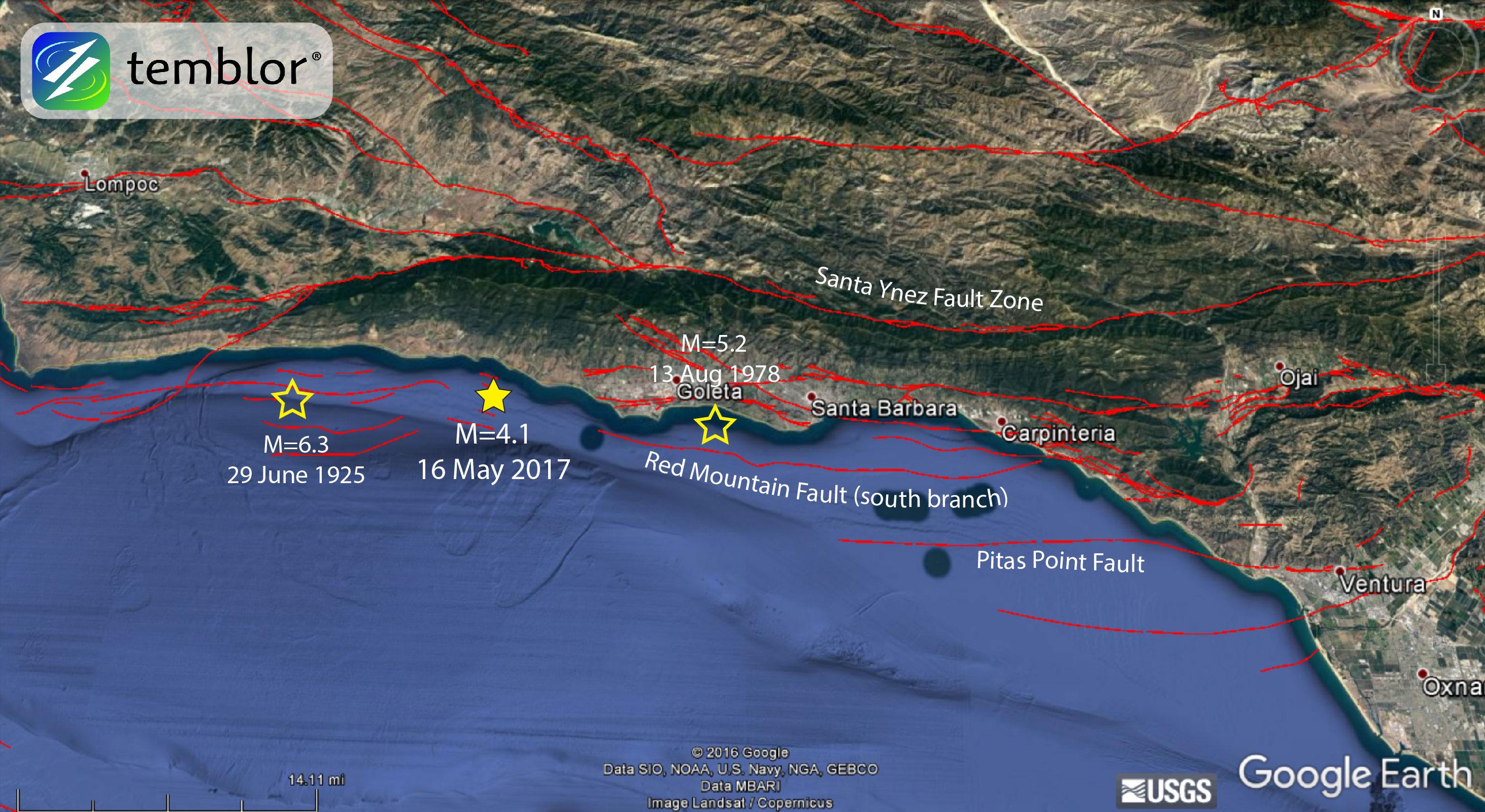 Santa Barbara Earthquake Map Historic Earthquakes
