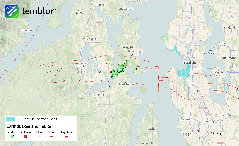 A seismic swarm in progress beneath the Seattle Fault ...