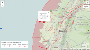 This Temblor map shows the location of today's M=6.0 earthquake in coastal Ecuador