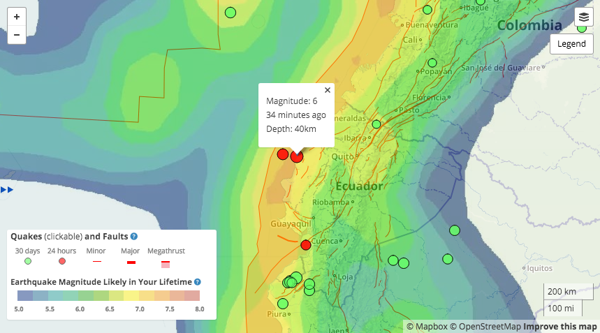 This Temblor map shows the Global Earthquake Activity Rate (GEAR) model for Ecuador and parts of the surrounding countries. What can be seen from this map is that in this location, a M=6.75+ earthquake is likely, which means this quake should not be considered surprising.