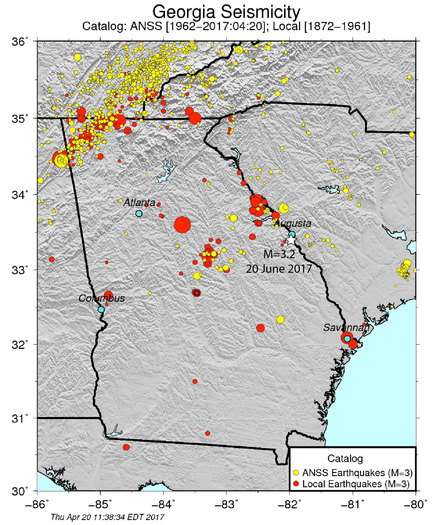 Map Of Georgia Augusta.Augusta Earthquake Map Georgia Seismicity Map Temblor Net