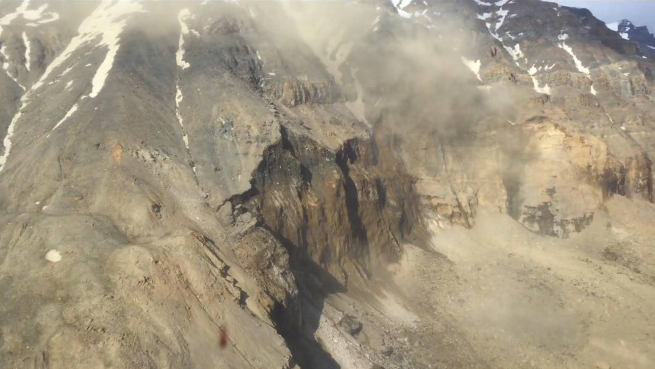 his picture, taken by the Arctic Command shows part of the landslide that triggered the deadly tsunami.